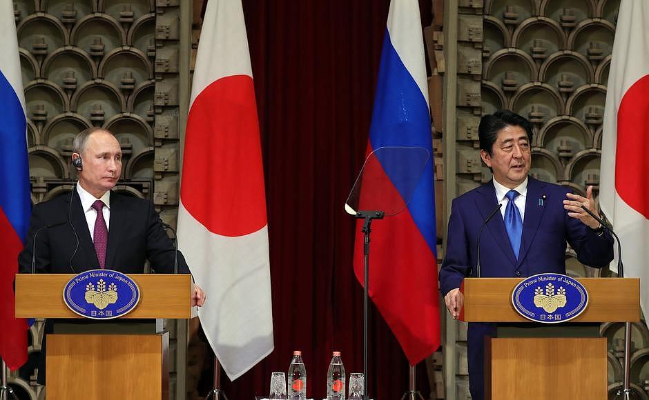 Заявления для прессы и ответы на вопросы журналистов по итогам российско-японских переговоров. Фото: kremlin.ru
